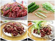 Marinated bulgogi arranged on a dome shaped pan along with thinly sliced scallions and enoki mushrooms Korean Bbq At Home, Korean Bbq Beef, Asian Beef, Korean Food, Chinese Food, Bulgogi Marinade, Bulgogi Recipe, Meat Recipes, Asian Recipes