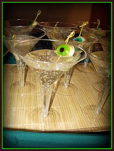 Eyeball Martini   (Shrek Party) we could use sprite! The kids would love these! :)