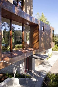Concrete Stairs, Entrance, Impressive House in Marin, California