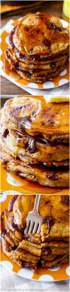 Pumpkin Chocolate Chip Pancakes - this is the ultimate recipe for moist. fluffy. thick pumpkin pancakes!