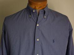 Ralph Lauren Dress Shirt Sz XL Blue and White Plaid Button Collar Excellent #RalphLauren #DressShirt