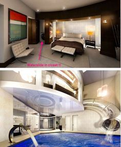 This ultra secret bedroom closet waterside that leads to a luxurious indoor pool.
