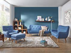 Canapé style rétro bleu