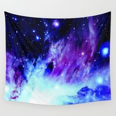Wall Tapestry | Blue Tapestry| Galaxy Tapestry| Purple & Blue Stars Wall Tapestries| Indoor Outdoor| Wall Art|Wall Hanging|Nasa Image| S M L