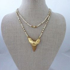 Riverstone + Large Shark Tooth Necklace Jewelry Hand Made