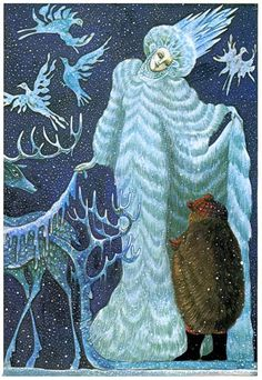Errol Le Cain illustration from 'The Snow Queen' by Hans Christian Andersen, adapted by Naomi Lewis, 1979 Snow Queen, Ice Queen, Snow Maiden, Edmund Dulac, Queen Art, Fairytale Art, Hans Christian, Wow Art, Children's Book Illustration