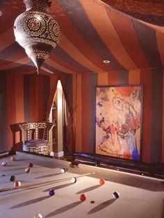 moroccan decor and billiard room design with moroccan lantern Moroccan Room, Moroccan Lamp, Moroccan Interiors, Moroccan Design, Moroccan Style, Design Marocain, Style Marocain, Bedroom Themes, Bedroom Decor