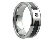 Dennie Tungsten Ring with Black Diamond 0.04ct & Black Carbon Fiber Inlay 8mm - Select Wedding Rings