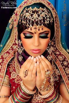 Indian bride makeup. Love the eyeshadow. #indianbridemakeup #bridalmakeup #modernindianwedding