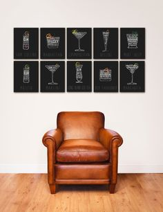 Cocktail recipes typography bar art original graphic artwork by stephen fowler 11 x 14 signed giclee print. $33.00, via Etsy.