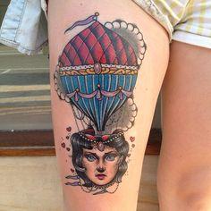 Hot air balloon tattoo by Dan Molloy.