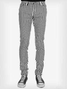 glovestar sklep rockowy spodnie męskie punkowe rockowe w paski pasy prążki biało czarne 1