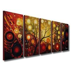Hand Painted 'Life Tree and The Universe' Oil Paint 5-piece Canvas Art Set | Overstock™ Shopping - Top Rated Canvas