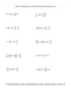Order of Operations with Integers (Two Steps