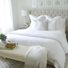 Designer @kelleynan is a master at designing in a neutral palette. We teamed up with Kelley to make over a room in her home as the ultimate white room. She started with @SherwinWilliams Alabaster paint on the walls as her inspiration and then took off from there! Check out the blog for the full reveal! #bedroom #whiterooms #design #mypotterybarn #brightwhitewednesday