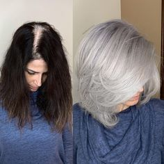 This Woman& Silver Hair-Color Transformation Will Make You Embrace Your Gra. This Woman& Silver Hair-Color Transformation Will Make You Embrace Your Gra. This Woman& Silver Hair-Color Transformation Will Make You Embrace Your Grays Grey Hair Modern, Modern Bob, Grey Hair Transformation, Gray Hair Highlights, Silver Grey Hair, Silver Color, Gray Color, Grey Hair Brown Roots, Dye Hair Gray