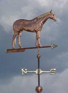 Quarter Horse Weather Vanenby West Coast Weather Vanes. This Quarter Horse weathervane has optional gold leaf mane and tail details.  We can also use gold leaf or palladium to turn this into a portrait weathervane, matching individual markings, such as blaze on the forehead or white socks.