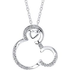 Disney Mickey Mouse Crystal Silver-Plated Pendant Necklace ($16) ❤ liked on Polyvore featuring jewelry, necklaces, crystal jewelry, disney necklace, long pendant, silver plated necklace and mickey mouse jewelry
