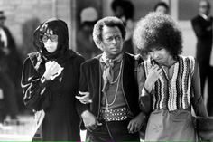 Devon Wilson, Miles Davis & Betty Davis at the funeral of Jimi HENDRIX 1970