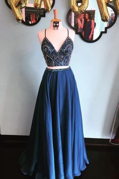 Sparkly Two Piece Sequins Navy Blue Long Prom Dress #PromDresses