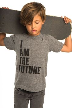 he's got the length for the front in this look. wonder if it ever looks polished though. Image source #KidsFashion