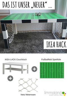 Ein Fußball Kinderzimmer - Das wünschen sich viele kleine Kicker! Aus einem IKEA LACK Tisch lässt sich ein tolles Tor bauen und ein Spielfeld kommt noch obendrauf. Perfekte Deko auch für die Fussballparty! www.limmaland.com/blog