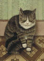 Sal Meijer (Dutch, 1877-1965)   Poes met jongen - Cat with kittens   Christie's