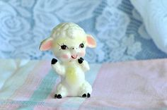 Vintage Ceramic Lamb Ornament / Porcelain Sitting by SharonTalson