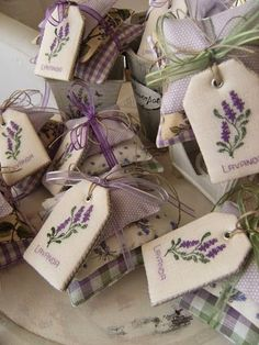 Lavender sachet with a cross stitch tag Lavender Crafts, Lavender Bags, Lavender Sachets, Cross Stitch Flowers, Cross Stitch Patterns, Sewing Crafts, Sewing Projects, Scented Sachets, Cross Stitch Finishing