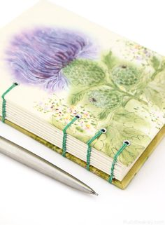 Purple Thistle #Journal - Coptic Stitch with Exposed Spine by Ruth Bleakley #bookbinding