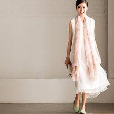 Art Embroidered White Simple Long Dress Summer Women Dress Q295A