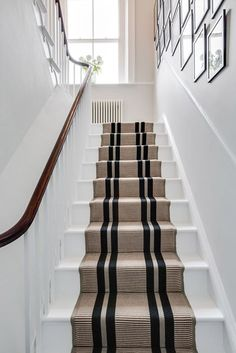Top Guide of White Staircase with Runner Stairways Staircase Runner, Stair Railing, Carpet Runner On Stairs, Banisters, Railings, Runners For Stairs, Carpet For Stairs, Striped Carpet Stairs, Stairway Carpet