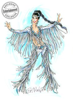 """Bob Mackie Finale costume for """"Star"""" Cher - The Cher Show on Broadway Fashion Illustration Sketches, Fashion Design Sketches, The Cher Show, Costume Design Sketch, Model Sketch, Bird Silhouette, Bob Mackie, Japanese Street Fashion, Poses"""