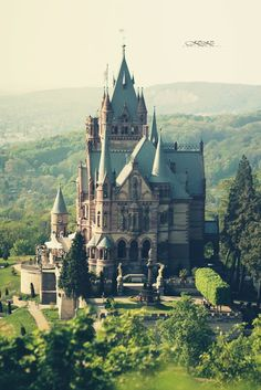 Drachenburg Castle, Germany - built 1882-1884 on the Drachenfels Hill in Königswinter, a town on the Rhine River near the city of Bonn