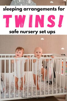 How to set up your twin nursery for safe twin sleep! These safe twin sleeping arrangements can work in any twin nursery. Practice safe sleep habits that will help get your twins on the same schedule. Sleeping together or apart, there is a twin sleep solution for every twin family. (These work for twin boy, twin girl, or boy girl twin nurseries!) The best safe twin sleeping arrangements.#twinsleep #twinnursery #twinsleepingarrangements #twinmom #twintips Team-Cartwright.com Boy Girl Twins, Baby Twins, Twin Babies, Twin Mom, Twin Girls, Breastfeeding Twins, Twin Nurseries, Twin Toddlers, Sleep Solutions