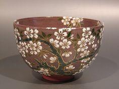 Matcha tea bowl, cherry blossoms