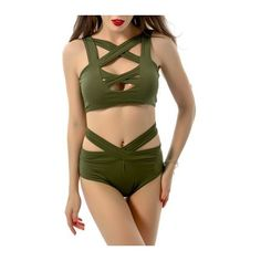 Rotita Olive Green Cut Out Two Piece Swimsuit (£11) ❤ liked on Polyvore featuring swimwear, bikinis, army green, two piece swimsuit, olive green bathing suit, cut out swimsuit, swimsuits two piece and cutout swimsuit