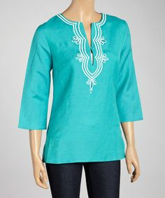 Another great find on #zulily! Turquoise Embroidered Flourish Top - Plus #zulilyfinds