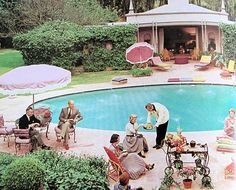Vintage pool party .... Love this pretty pool area .