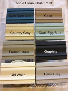Decor Amore: My Annie Sloan Chalk Paint Color Boards. Just painted my kitchen cupboards Old White. Love this paint!!