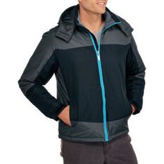 Climate Concepts Men's Colorblock Mid Weight Jacket with Removable Hood, Size: XL, Black