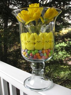 This arrangement is so easy to make. Insert a small vase into the middle of the hurricane to use for water with flowers. Then fill around it with jelly beans and peeps. Living Willow, Willow House, Easter Crafts, Holiday Crafts, Easter Ideas, Hurricane Vase, Southern Living Homes, Hoppy Easter, Holiday Time