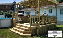 Patio avec piscine hors terre par patio design inc for Cloture pour piscine hors terre