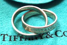 SALE!! Vintage TIFFANY & CO 1837 Sterling Silver Interlocked Wedding Band Rolling Rings- Pendant by 12Treasures12 on Etsy