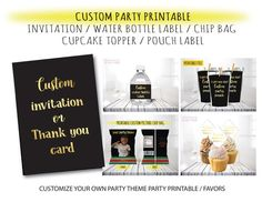 Custom party printable custom party bundles custom party | Etsy Printable Labels, Printable Invitations, Party Printables, Custom Invitations, Party Gifts, Party Favors, Custom Water Bottle Labels, Banner Backdrop, Custom Cupcakes