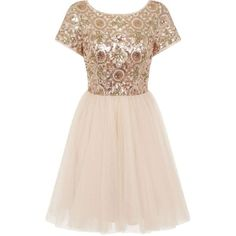 **Chi Chi London Petite Gold Sequin Party Dress (20085 SYP) ❤ liked on Polyvore featuring dresses, gold, petite, petite cocktail dress, pink dress, petite dresses, sequin cocktail dresses and pink cocktail dress