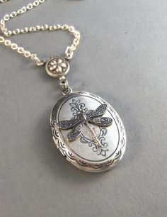 Meadow,Silver Dragonfly Locket,Victorian Style,Silver Chain. Handmade Jewelry by valleygirldesigns on Etsy.From valleygirldesigns by ValleyGirlDesigns on Etsy https://www.etsy.com/listing/62350952/meadowsilver-dragonfly-locketvictorian