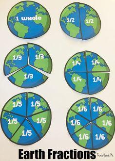 Fractions -Earth Fractions- an Earth Day math activity. A Math Fun Math Games, Math Activities, Holiday Activities, Math Worksheets, Math Resources, Math Strategies, Creative Teaching, Teaching Math, Teaching Spanish