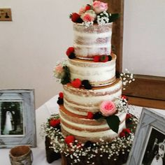 4 tier naked wedding cake