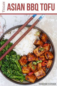 Get your fix with this vegan Chinese food recipe: Spicy Asian BBQ Tofu Bowls. This Chinese food recipe will be ready faster than you can say takeout! Tofu Recipes, Vegan Dinner Recipes, Spicy Recipes, Vegan Dinners, Vegan Recipes Easy, Vegetarian Recipes, Vegan Ideas, Dessert Recipes, Homemade Chinese Food